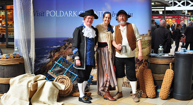 Visit Poldark Country by Train - promotional stand at London Paddington