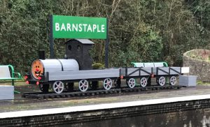 Train model at Barnstaple station