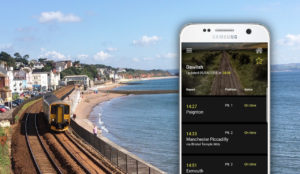 Devon app screenshot set against backdrop of train on Dawlish coastal route