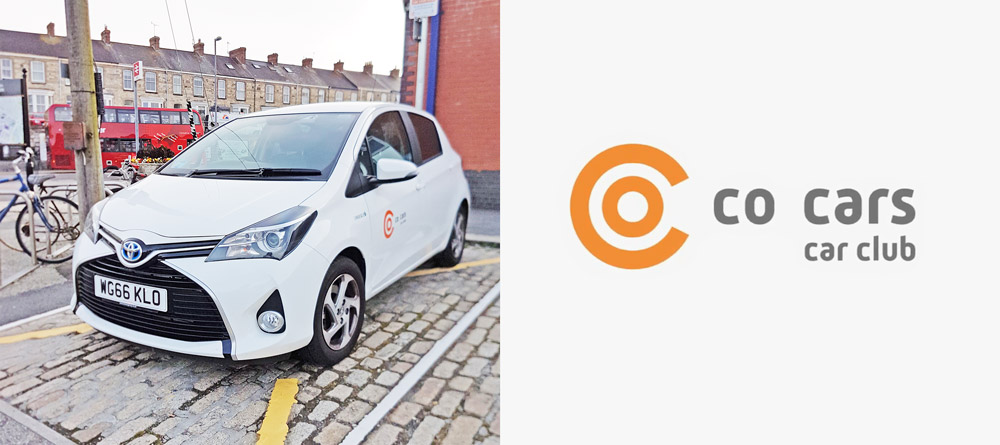 Co-cars vehicle at Truro station and Co-cars car club logo