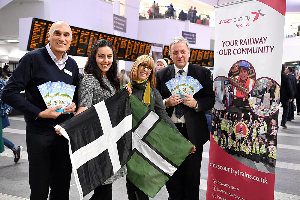 Launch of Explore Devon and Cornwall with CrossCountry leaflet at Birmingham New Street