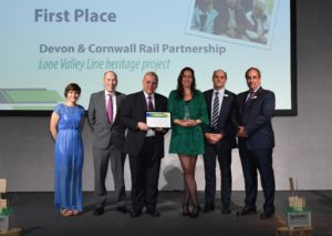 Devon & Cornwall Rail Partnership team receive 1st place award for Looe Valley Line Heritage Project