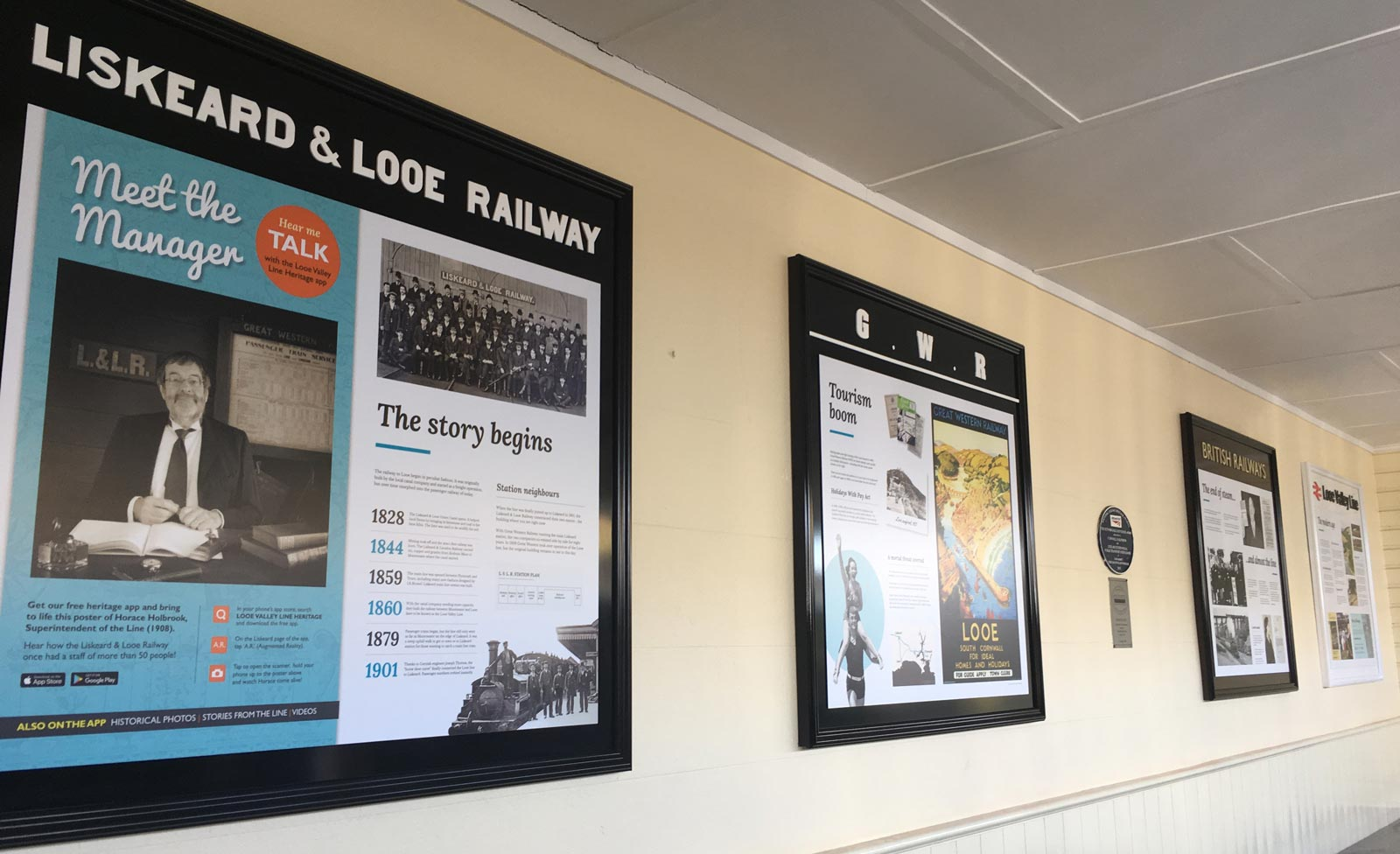 Interpretation boards at Liskeard station