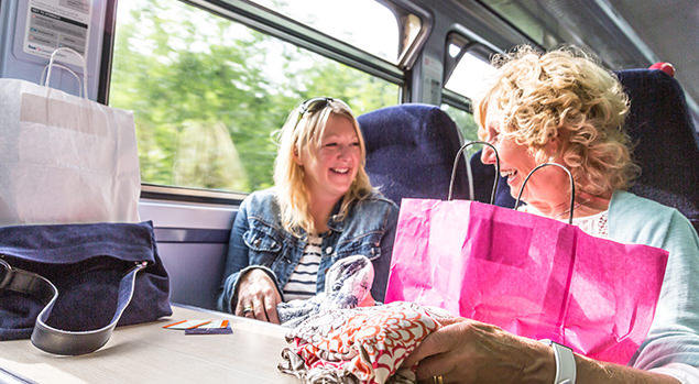 Passengers with shopping bags on train