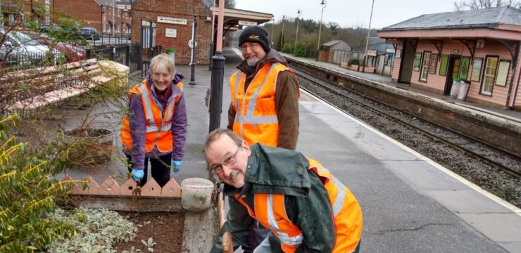 Friends of Crediton Station brave the cold to give passengers a warm welcome