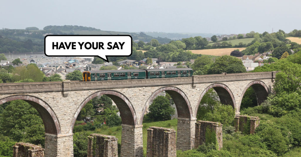 Train on the Maritime Line with speech bubble saying 'Have your say'