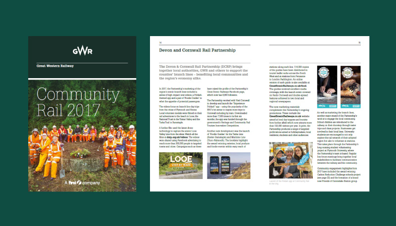 Screenshot of GWR Community Rail report 2017 front cover and Devon & Cornwall Rail Partnership spread