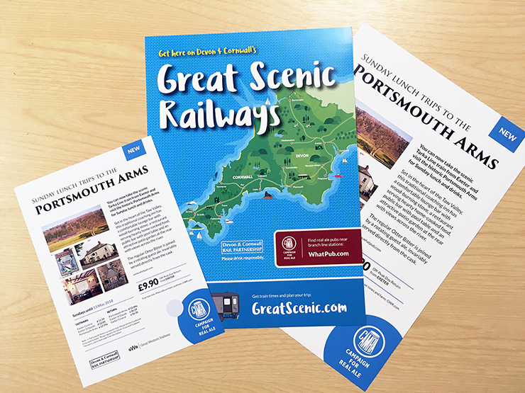 Portsmouth Arms and Great Scenic Railways posters and flyers