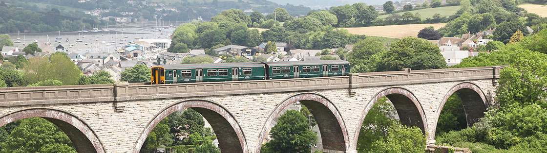 Train on viaduct on Truro-Falmouth line