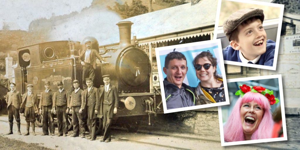 Steam train at Looe station with polaroids of participants in Looe Valley Line heritage project
