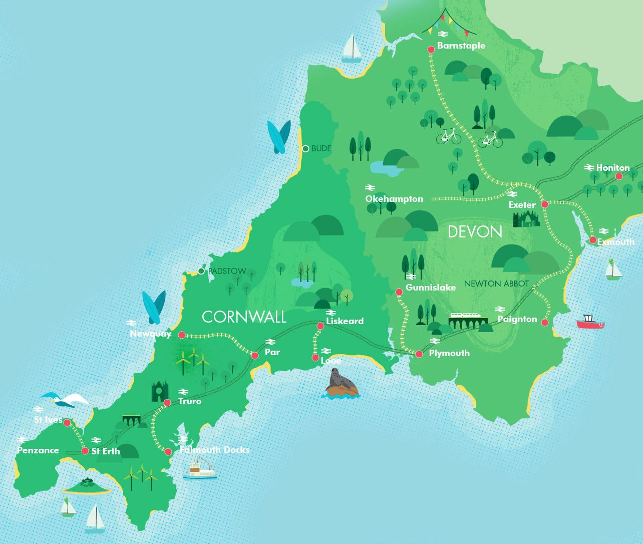 Map of Devon and Cornwall's branch lines