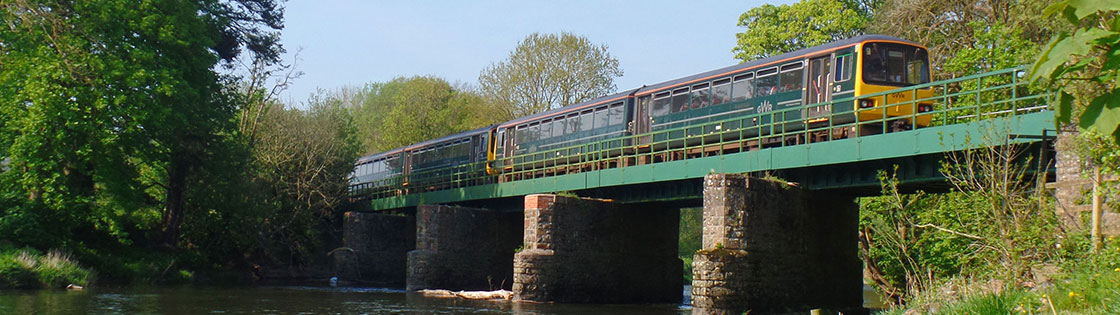 Train crossing Black Bridge near Umberleigh on the Tarka Line - photo by Mark Lynam