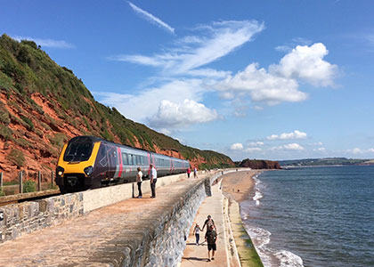 Crosscountry train on the Riviera Line between Exeter and Paignton