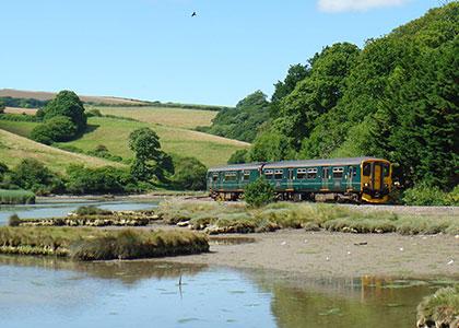 GWR train on the Looe Valley Line between Liskeard and Looe