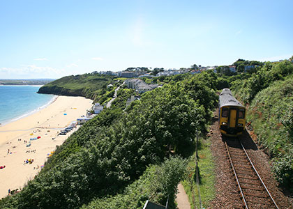 GWR train on the St Ives Bay Line between St Erth and St Ives