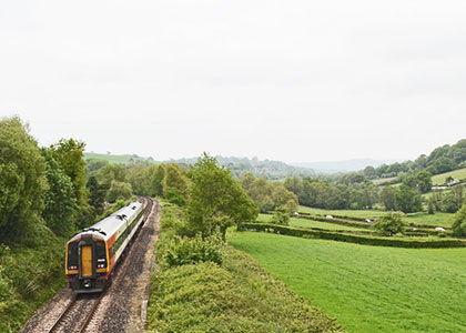 SWR train on the East Devon Line between Exeter and Axminster