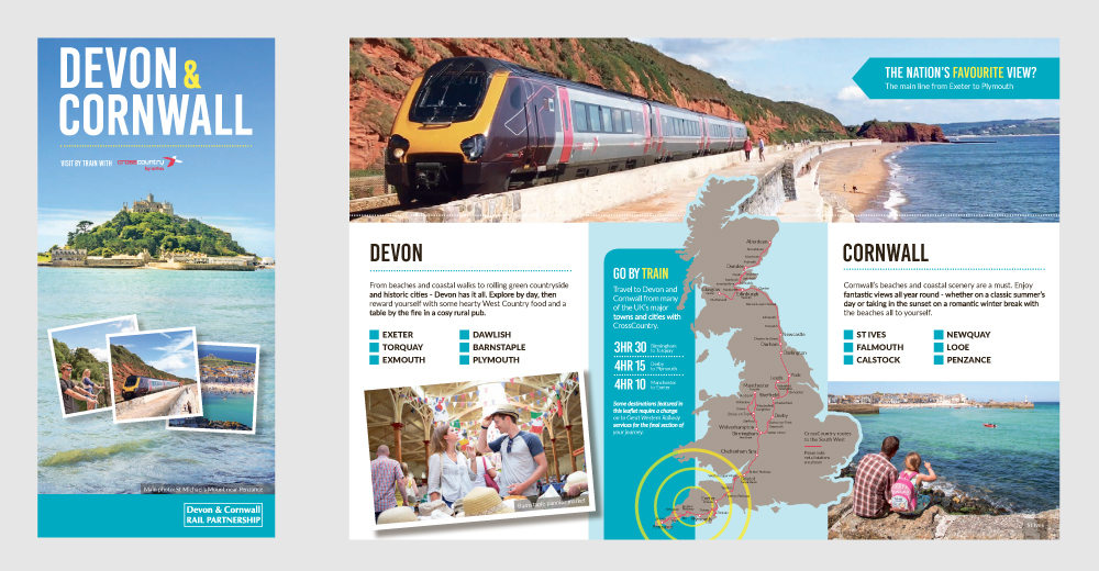 Front cover and inside spread of 'Devon & Cornwall - Visit by train with CrossCountry' leaflet