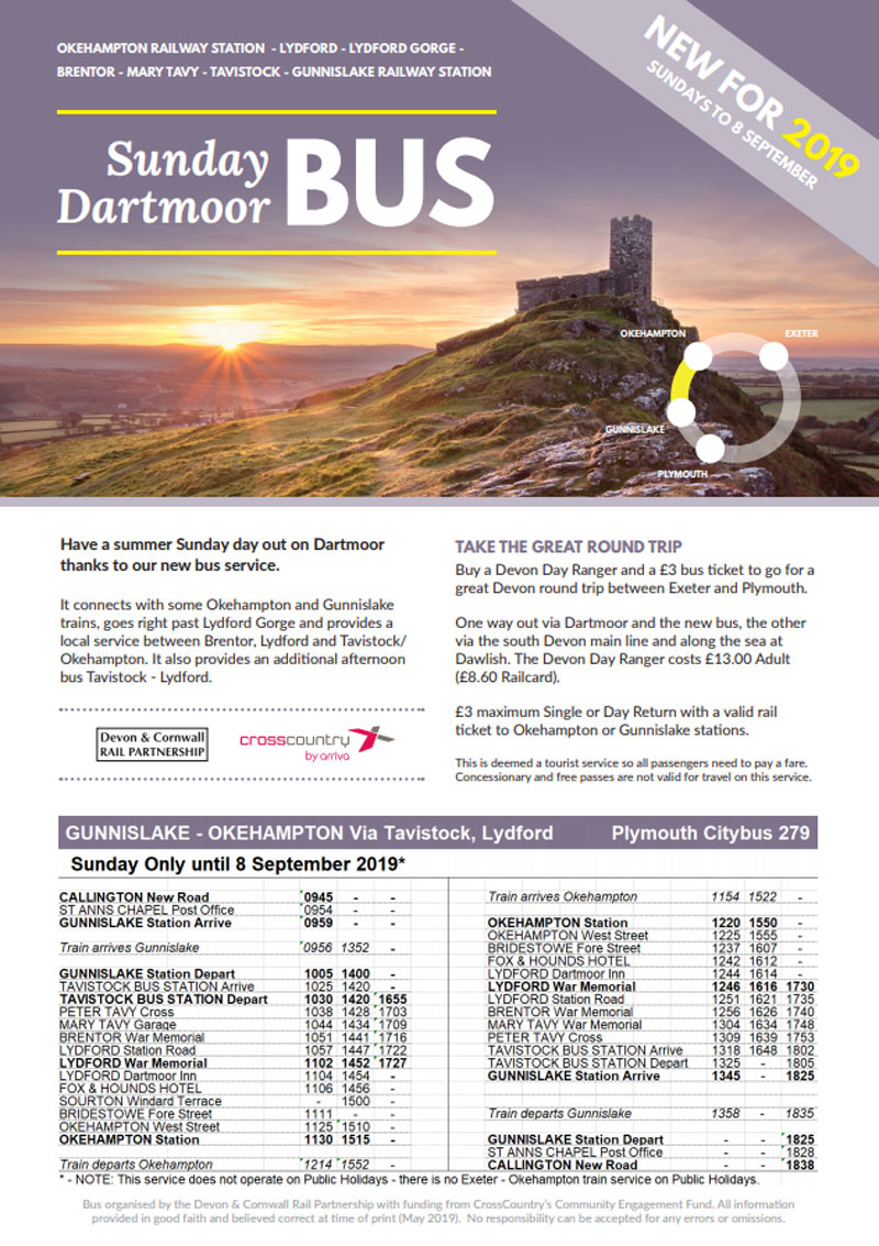 Sunday Dartmoor bus poster